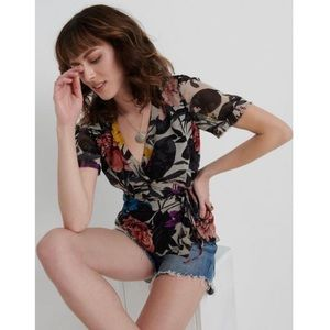 Lucky Brand Abstract Floral Wrap Blouse